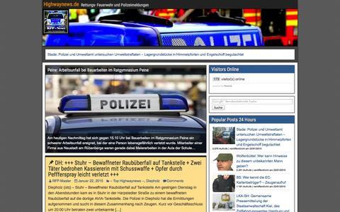 Screenshot of Home Page highwaynews.de - Highwaynews.de - Rettungs- Feuerwehr und Polizeimeldungen - captured Jan. 22, 2015