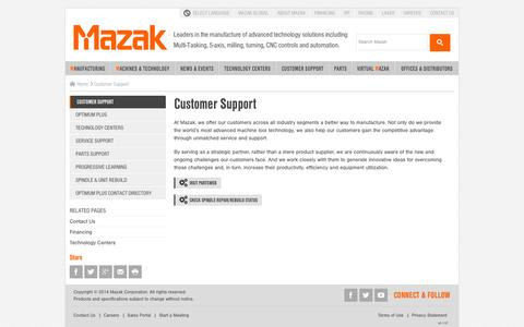 Screenshot of Support Page mazakusa.com - Customer Support - captured Oct. 27, 2014