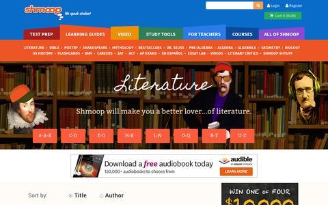 Screenshot of Blog shmoop.com - Literature Learning Guides & Teacher Resources - captured Sept. 17, 2014