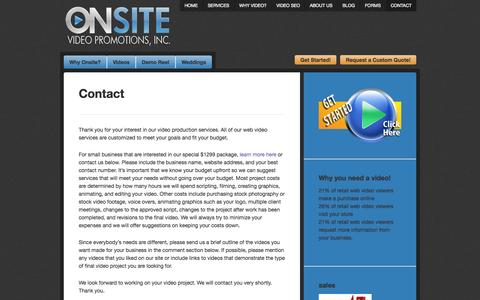 Screenshot of Contact Page onsitevidpro.com - Contact Onsite Video Promotions | OnSite Video Promotions- Sacramento Video Production - captured Oct. 26, 2014