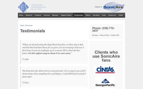 Screenshot of Testimonials Page iesclean.com - Testimonials - Integrated Environmental Solutions | BarrierAire™ Technology - captured Oct. 6, 2014