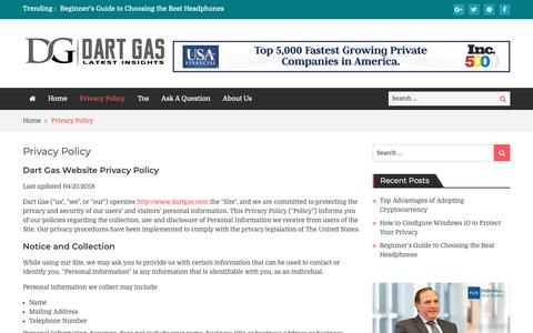 Screenshot of Privacy Page dartgas.com - Privacy Policy | Dart Gas - captured Oct. 7, 2018