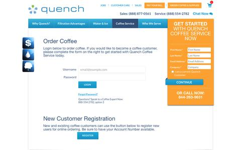 Screenshot of Login Page quenchonline.com - Order Coffee - captured Feb. 2, 2016