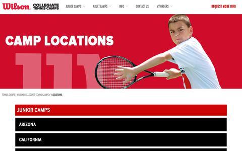 Screenshot of Locations Page wilsontenniscamps.com - Locations | Tennis Camps | Wilson Collegiate Tennis Camps - captured Nov. 15, 2018