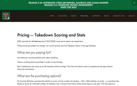 Screenshot of Pricing Page levelchanger.com - Pricing | Takedown Scoring and Stats - captured Nov. 4, 2018
