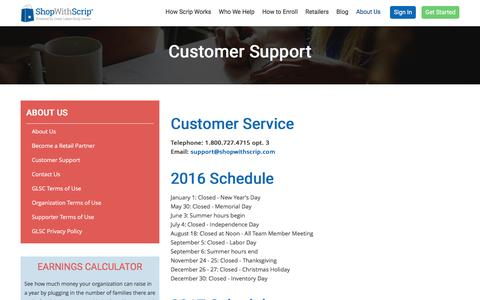 Screenshot of Support Page shopwithscrip.com - Customer Support - captured Dec. 25, 2016