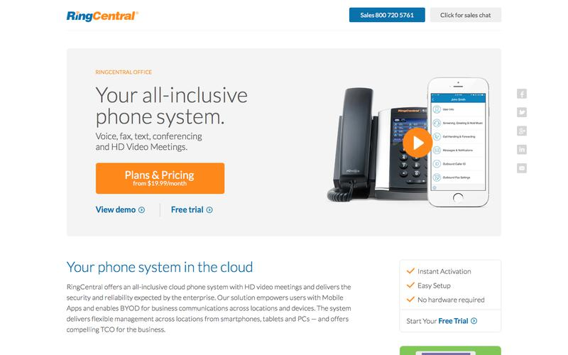 Hosted Business Phone System from RingCentral
