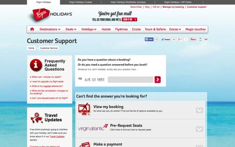 Screenshot of Support Page virginholidays.co.uk - Virgin Holidays - Customer Support - captured Sept. 18, 2014