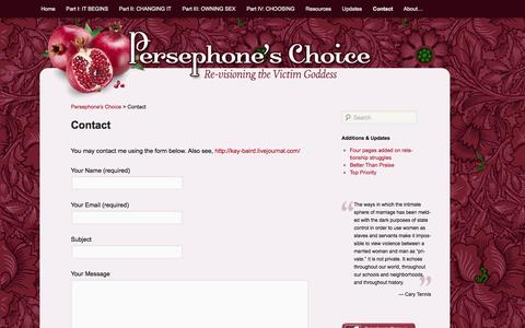 Screenshot of Contact Page kaybaird.com - Contact » Persephone's Choice - captured Sept. 30, 2014