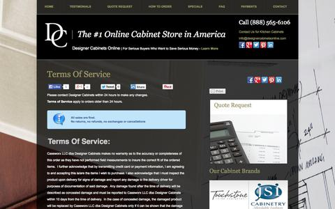 Screenshot of Terms Page designercabinetsonline.com - Terms of Service | Designer Cabinets OnlineDesigner Cabinets Online - captured Oct. 5, 2014