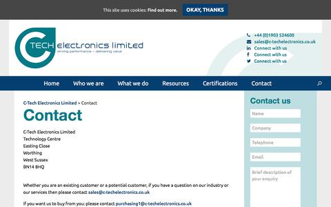Screenshot of Contact Page c-techelectronics.co.uk - Contact | C-Tech Electronics Limited - captured Sept. 25, 2018