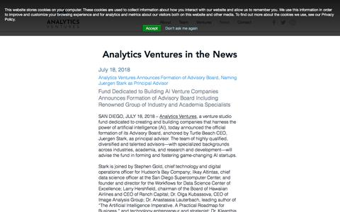 Screenshot of Press Page analytics-ventures.com - Analytics Ventures News - captured July 30, 2018