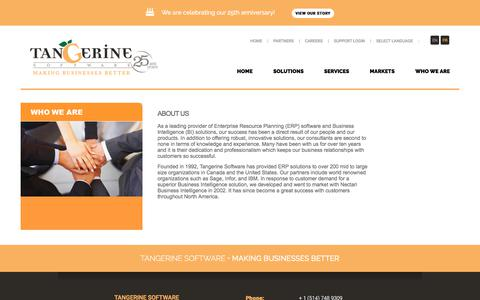 Screenshot of About Page tangerinesoftware.com - ERP & BI provider for SMB | Montreal Canada | Tangerine Software - captured Oct. 27, 2017