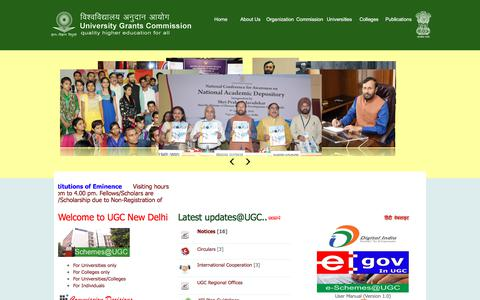 Screenshot of Home Page ugc.ac.in - Welcome to UGC, New Delhi, India - captured Nov. 25, 2017