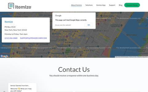 Screenshot of Contact Page itemize.com - Business Expense Tracking Software - Receipt Management App - captured Oct. 13, 2018