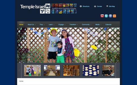 Screenshot of Home Page templeisraelomaha.com - Home - captured Oct. 12, 2015