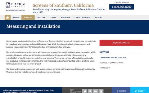Screenshot of Services Page phantomsocal.com - Measuring & Installation | Retractable Screen Doors Windows Phantom Screens - captured July 29, 2017