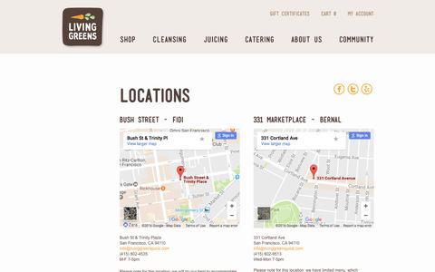 Screenshot of Contact Page Locations Page livinggreensjuice.com - Contact - captured Dec. 25, 2016