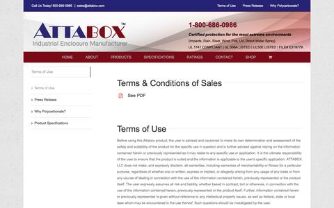 Screenshot of Terms Page attabox.com - Terms of Use - Attabox Polycarbonate Enclosures - captured Feb. 6, 2016
