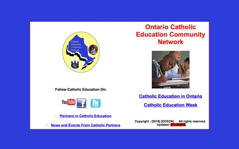 Screenshot of Home Page ocecn.net - Ontario Catholic Education Community Network - captured March 12, 2017