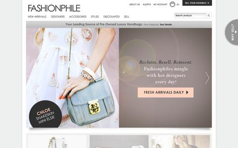 Screenshot of Home Page fashionphile.com - Authentic Pre Owned Luxury Handbags, Discount Designer Bags, Handbags & Purses, Pre Owned / Used Louis Vuitton, Chanel, Gucci Designer Bags, Handbags & Purses For Sale - captured Sept. 23, 2014