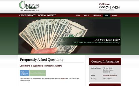 Screenshot of FAQ Page collectionsusa.net - Debt Recovery, Collections Agency - Phoenix, AZ | Collections U.S.A. Inc. - captured May 20, 2017