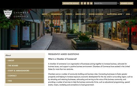 Screenshot of FAQ Page beverlyhillschamber.com - FAQ - Beverly Hills - captured Nov. 22, 2016