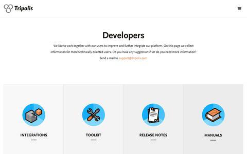 Screenshot of Developers Page tripolis.com - Developers page - Tripolis - captured Oct. 1, 2018