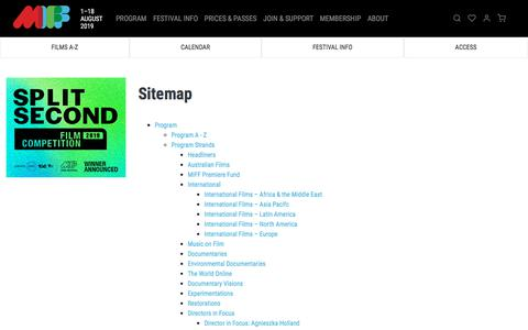 Screenshot of Site Map Page miff.com.au - Sitemap   MIFF 2019 - captured July 12, 2019