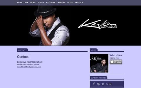 Screenshot of Contact Page kevonmusic.com - Kevon Edmonds - captured June 23, 2016