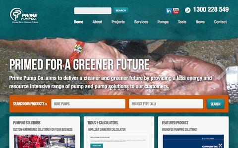 Screenshot of Home Page primepump.com.au - Prime Pump - captured Oct. 3, 2014