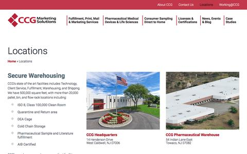 Screenshot of Locations Page corpcomm.com - Locations | CCG Marketing Solutions - captured July 7, 2017