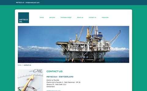 Screenshot of Contact Page metscooil.ch - Upstream Advisors in Switzerland - YOUR KEY ADVISORS FOR THE MIDDLE EAST & WEST AFRICA | Metsco Oil - captured Nov. 5, 2018