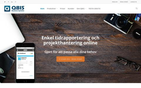 Screenshot of Home Page qbis.se - QBIS - Tidrapportering och projekthantering online - captured Jan. 23, 2016