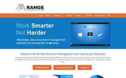 Screenshot of Home Page rangeis.com.au - M-Files Australia Document Management Software & IT Support | Range Information Systems - captured Sept. 5, 2015