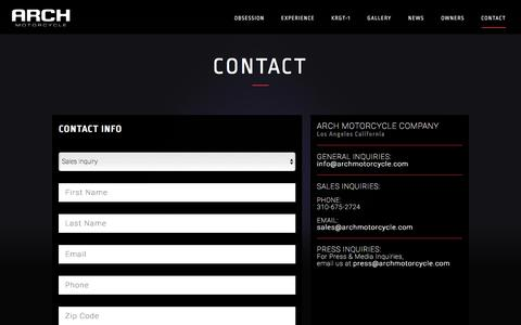 Screenshot of Contact Page archmotorcycle.com - Contact — Arch Motorcycle - captured May 7, 2017