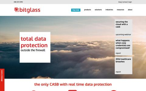 Screenshot of Home Page bitglass.com - cloud access security broker | bitglass - captured April 16, 2016