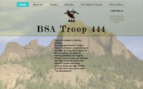 Screenshot of Home Page bsatroop444.com - bsatroop444 - captured Feb. 8, 2016