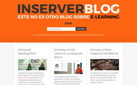 Screenshot of Blog inserver.es - INSERVER | Blog sobre e-learning, Mooc, Moodle, educación a distancia. Inserver | Blog e-learning, mooc , moodle, lms, scorm - captured Nov. 26, 2016
