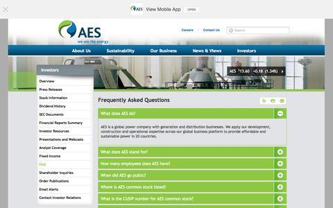 Screenshot of FAQ Page aes.com - The AES Corporation - Investors - FAQ - captured Oct. 29, 2014