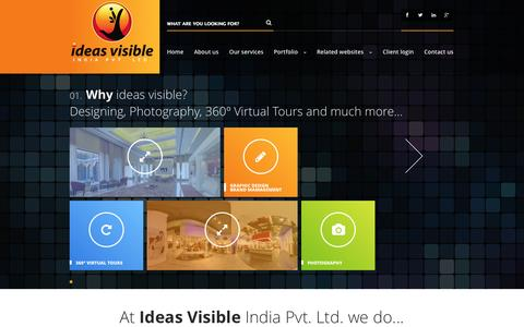 Screenshot of Home Page ideasvisible.com - Graphic Designing, Advertising Agency, Interior Photography, Fashion Photography, 360° Virtual Tours, Panorama, Branding in Delhi NCR, Ideas Visible, Ideas Visible India, Ideas Visible Gurgaon - captured Oct. 1, 2014