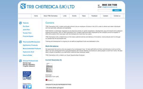 Screenshot of Jobs Page trbchemedica.co.uk - Careers, Work Life Balance, Current Vacancies - captured Oct. 8, 2014
