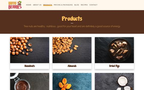 Screenshot of Products Page nutsandberries.co.uk - Nuts & Berries |   Products - captured Oct. 18, 2018