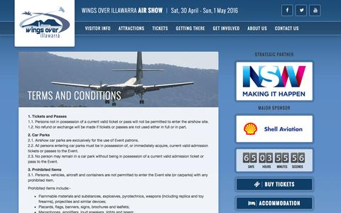 Screenshot of Terms Page wingsoverillawarra.com.au - Terms and Conditions - Wings Over Illawarra 2016 - captured Feb. 24, 2016