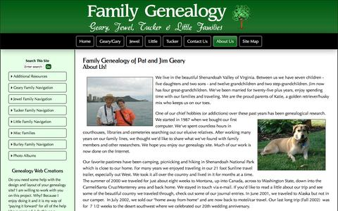 Screenshot of About Page family-genealogy-online.com - Geary Family - About Us - captured April 9, 2017