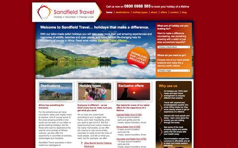 Screenshot of Home Page sandfieldtravel.com - African Safaris, Gorilla Tracking, Volunteering trips Sandfield Travel - captured Oct. 4, 2014
