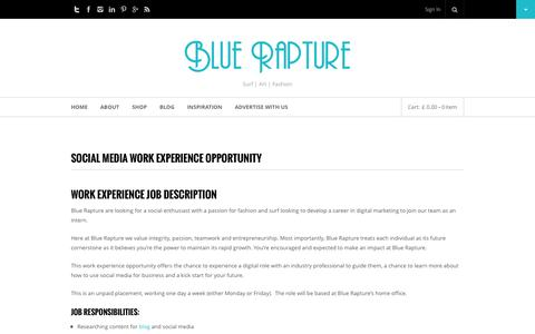 Screenshot of Jobs Page bluerapture.eu - Social Media Work Experience Opportunity - Blue Rapture - captured Oct. 29, 2014