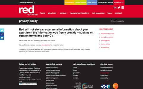 Screenshot of Privacy Page red-recruitment.com - Privacy Policy - Red Recruitment - Recruitment Agency Cardiff & Bristol - captured Oct. 1, 2014