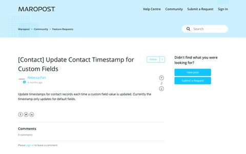 Screenshot of Support Page maropost.com - [Contact] Update Contact Timestamp for Custom Fields – Maropost - captured July 1, 2019