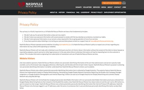 Screenshot of Privacy Page nashvillerescuemission.org - Privacy Policy: Nashville Rescue Mission - captured Sept. 30, 2014